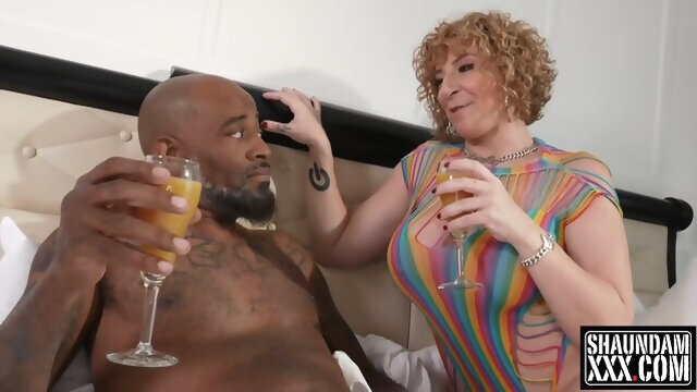 Busty Blonde Woman Is Sucking And Riding A Big, Black Dick In A Hotel Room big tits big cock